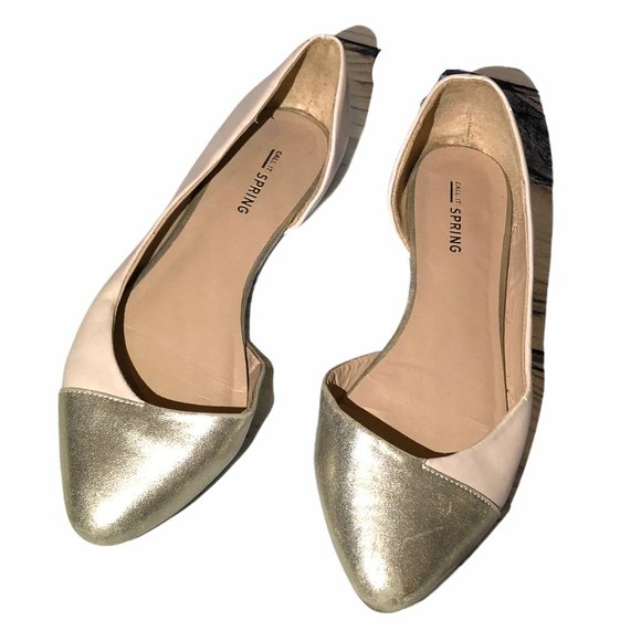 Call It Spring Golden Pointed toe Ballerina flats